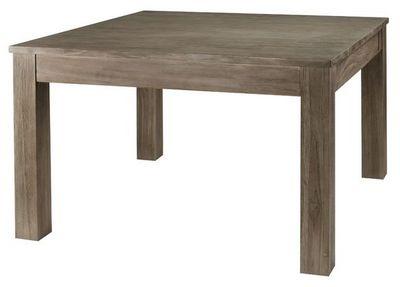 MEUBLES ZAGO - Table de repas carrée-MEUBLES ZAGO-Table repas carrée teck grisé  120 cm + allonge Co