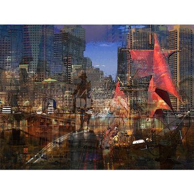 Magel'design - Tableau contemporain-Magel'design-Boston Rider 120x90 cm , 3D effet relief