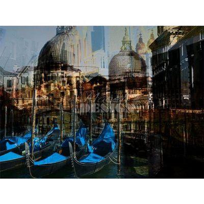 Magel'design - Tableau contemporain-Magel'design-Gondoles Venise 120x90 cm , 3D effet relief