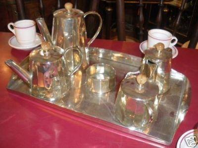 Art & Antiques - Service petit déjeuner-Art & Antiques-Service en métal argenté art déco