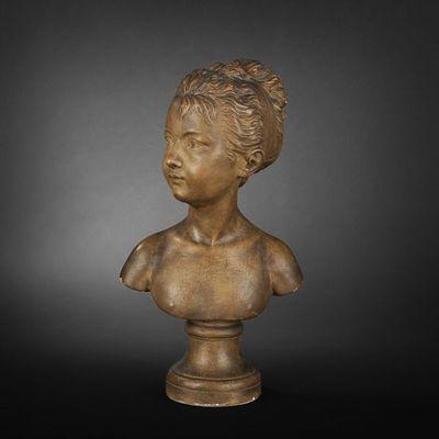 Expertissim - Sculpture-Expertissim-D'après Houdon. Buste de petite fille.