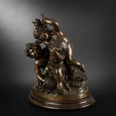 Expertissim - Sculpture-Expertissim-Raphaël Charles PEYRE. Trois putti jouant avec un