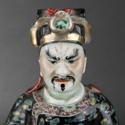 Expertissim - Statuette-Expertissim-Paire de dignitaires en porcelaine de Chine