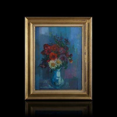 Expertissim - Huile sur toile et huile sur panneau-Expertissim-José PALMEIRO. Fleurs champêtres