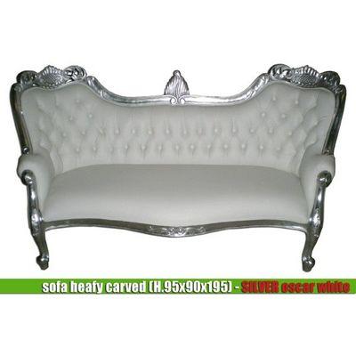 DECO PRIVE - Canapé 2 places-DECO PRIVE-Meridienne baroque imitation cuir blanc et bois ar