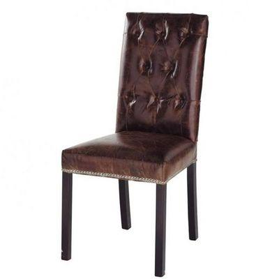 Maisons du monde - Chaise-Maisons du monde-Chaise cuir marron Elizabeth