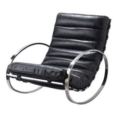 Maisons du monde - Rocking chair-Maisons du monde-Fauteuil à bascule cuir noir Freud