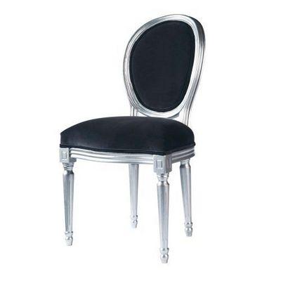 Maisons du monde - Chaise m�daillon-Maisons du monde-Chaise velours gris Louis