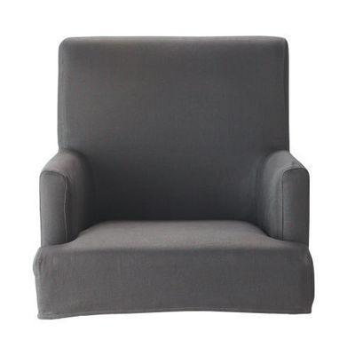 Maisons du monde - Housse de fauteuil-Maisons du monde-Housse de fauteuil de bar taupe lin Lounge