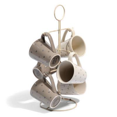 Maisons du monde - Porte-tasses-Maisons du monde-Support 6 mugs Petits coeurs