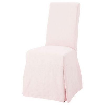 Maisons du monde - Chaise-Maisons du monde-Housse lin rose pâle Margaux