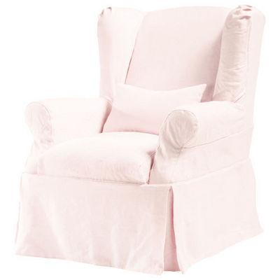 Maisons du monde - Housse de fauteuil-Maisons du monde-Housse lin rose p�le Cottage