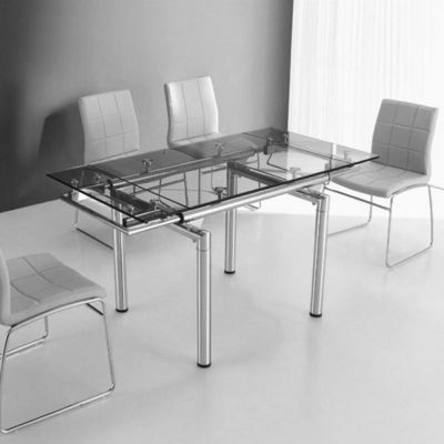CLEAR SEAT - Table de repas rectangulaire-CLEAR SEAT-Table en Verre a Rallonge Extensible 145/100 X 75