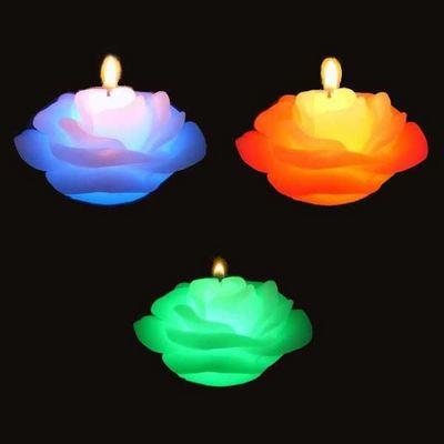 SUNCHINE - Bougie LED-SUNCHINE-3 bougies roses en cire eclairage led