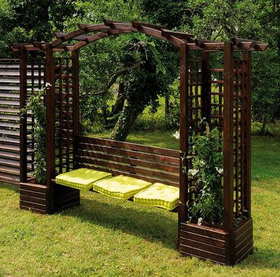 JARDIPOLYS - Banc couvert-JARDIPOLYS-Pergola en pin avec banc et jardinières 320x233x60