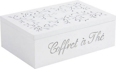 BARCLER - Boite de rangement-BARCLER-Coffret à thé en bois blanc 6 compartiments 24,5x1