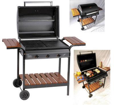 WILSA GARDEN - Barbecue au gaz-WILSA GARDEN-Barbecue à gaz 3 feux grill et plancha 101x63x70cm
