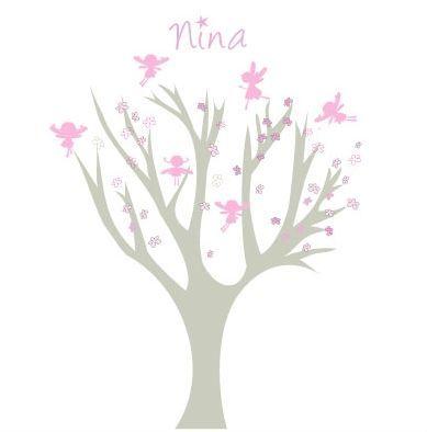LILI POUCE - Sticker D�cor adh�sif Enfant-LILI POUCE-Arbre petites fees roses