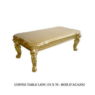 DECO PRIVE - Table basse rectangulaire-DECO PRIVE-Table basse baroque en bois dore modele Lion