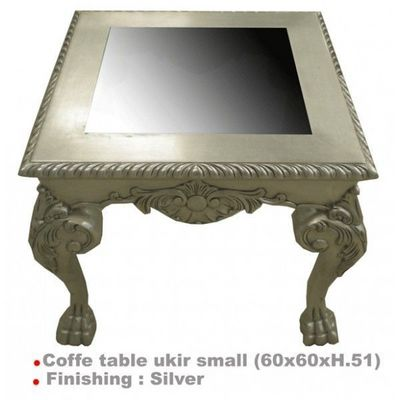 DECO PRIVE - Table basse carrée-DECO PRIVE-Table basse baroque argentee 60 x 60 cm Ukir