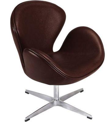 Arne Jacobsen - Fauteuil rotatif-Arne Jacobsen-Fauteuil Cygne Chocolat Arne Jacobsen