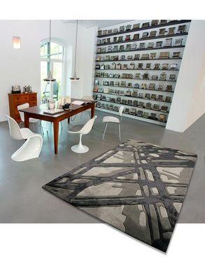 Arte Espina - Tapis contemporain-Arte Espina-Tapis de salon LOFT BAMBOO 1 gris 170x240 en Acryl
