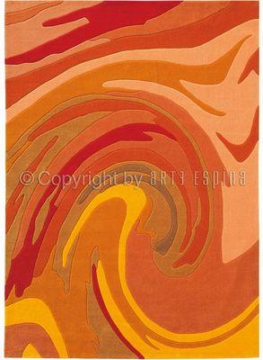 Arte Espina - Tapis contemporain-Arte Espina-Tapis de salon ACTION PAINTING orange 170x240 en A