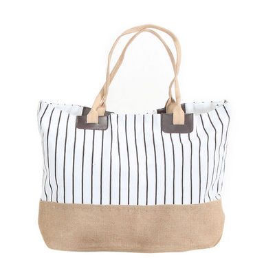 WHITE LABEL - Sac de plage-WHITE LABEL-Grand sac cabas � rayures pochette unie fond ray�