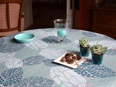 FLEUR DE SOLEIL - Nappe rectangulaire-FLEUR DE SOLEIL-Nappe Enduite Feuilles Turquoise 160x160