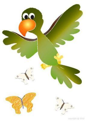 BABY SPHERE - Sticker Décor adhésif Enfant-BABY SPHERE-Sticker perroquet et papillons 30x42cm