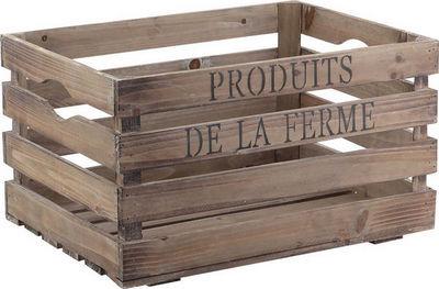 Aubry-Gaspard - Caisse de rangement-Aubry-Gaspard-Caisse en bois vieilli produits de la ferme 40x30x