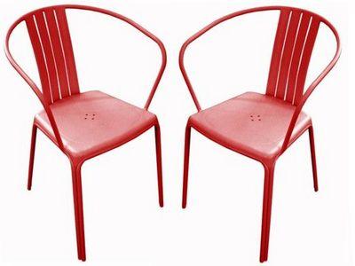 PROLOISIRS - Chaise de jardin-PROLOISIRS-Fauteuil empilable azuro en aluminium rouge (par 2