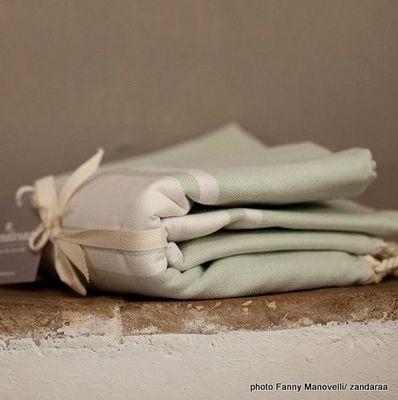Zandaraa - Fouta serviette de hammam-Zandaraa-fouta plate green lily
