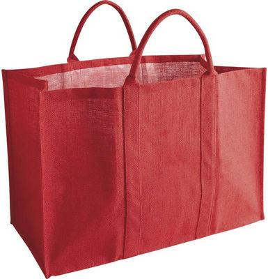 Aubry-Gaspard - Sac à buches-Aubry-Gaspard-Sac à bûches en jute naturelle rouge 60x30x40cm