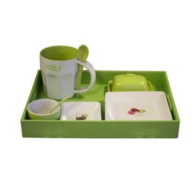 Cm - Service petit déjeuner-Cm-Plateau petit déjeuner - Couleur - Vert