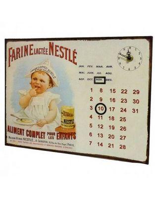 L'HERITIER DU TEMPS - Horloge murale-L'HERITIER DU TEMPS-Calendrier-pendule Plaque Pub Nestlé