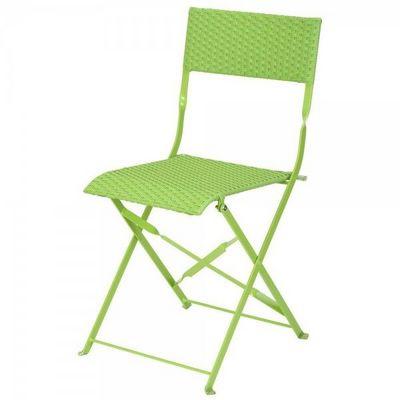 La Chaise Longue - Chaise de jardin pliante-La Chaise Longue-Chaise tressée naturelle verte