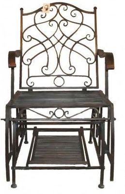 Demeure et Jardin - Fauteuil de jardin-Demeure et Jardin-Fauteuil Rocking Chair en Fer Forgé Vert de Gris