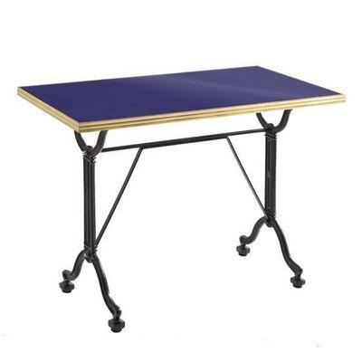 Ardamez - Table de repas rectangulaire-Ardamez-Table de repas émaillée bleu / laiton / fonte