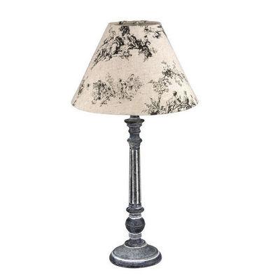 Interior's - Lampe à poser-Interior's-Lampe patinée grise Toile de Jouy