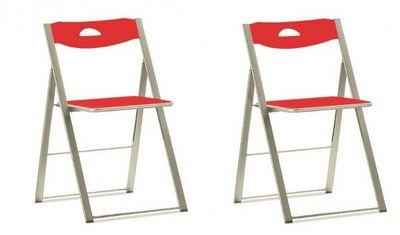Domitalia - Chaise pliante-Domitalia-Lots de 2 chaises pliantes ICON rouges