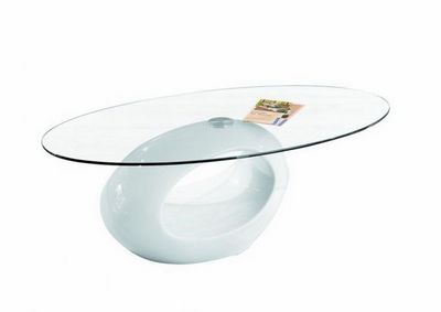 WHITE LABEL - Table basse ovale-WHITE LABEL-Table basse ovale NIGRA en verre et piétement blan