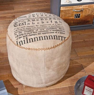 WHITE LABEL - Pouf-WHITE LABEL-Pouf LETTERHAND en coton beige