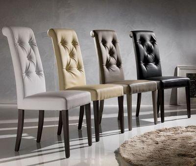 WHITE LABEL - Chaise-WHITE LABEL-Chaise coloniale BILLIONAIRE en simili cuir noir