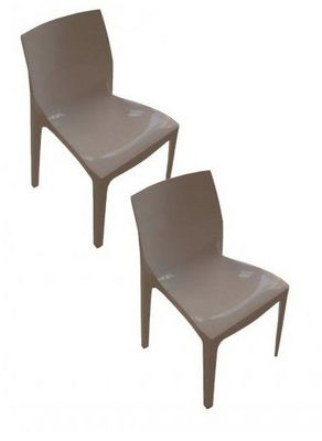 WHITE LABEL - Chaise-WHITE LABEL-Lot de 2 chaises haut de gamme FALENA empilables t