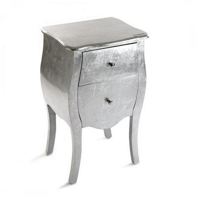 WHITE LABEL - Table de chevet-WHITE LABEL-Satellite petite commode bois 2 tiroirs argent