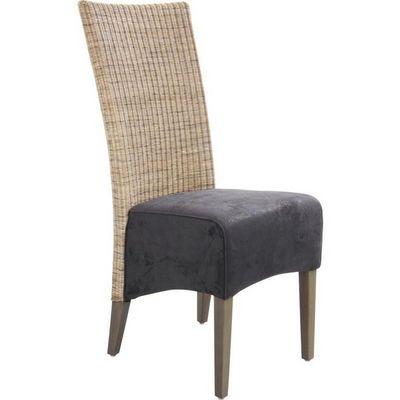 Aubry-Gaspard - Chaise-Aubry-Gaspard-Chaise rotin et teck teinté gris