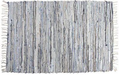 Aubry-Gaspard - Tapis contemporain-Aubry-Gaspard-Tapis en jeans et cuir argent�