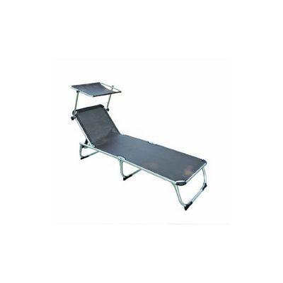 WHITE LABEL - Bain de soleil-WHITE LABEL-Transat jardin pliable chaise longue avec pare-soleil