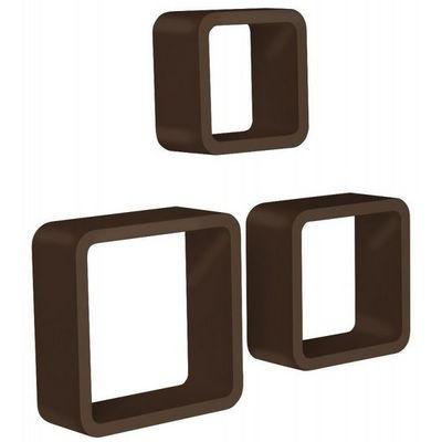 WHITE LABEL - Etagère-WHITE LABEL-Étagère murale x3 cube design marron